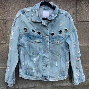 ZARA Denimwear Destroyed Light Blue Denim Jacket S